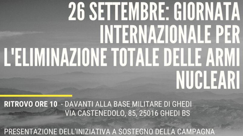 Davanti alla base di Ghedi per la Giornata Internazionale per l'eliminazione totale delle armi nucleari
