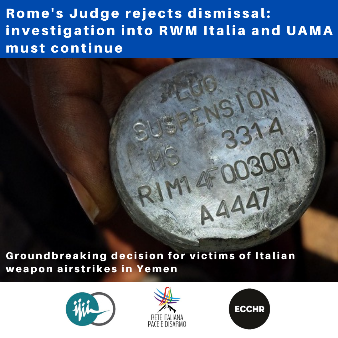 Rome's Judge rejects dismissal: investigation into RWM Italia and UAMA must continue