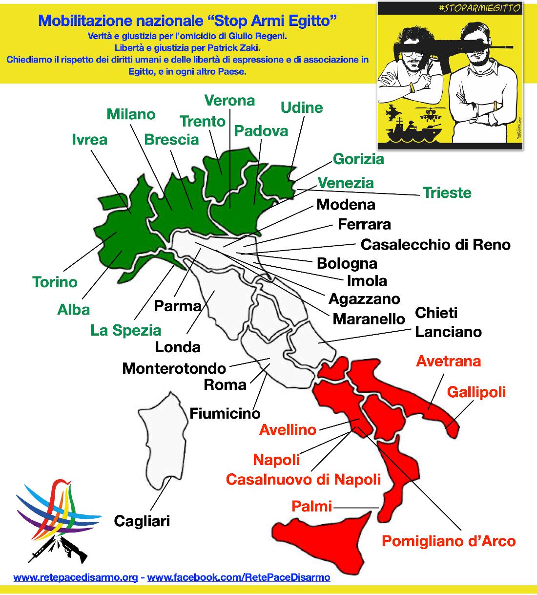 """Un successo le iniziative """"Stop armi Egitto"""" del 19 dicembre 2020 in tutta Italia"""