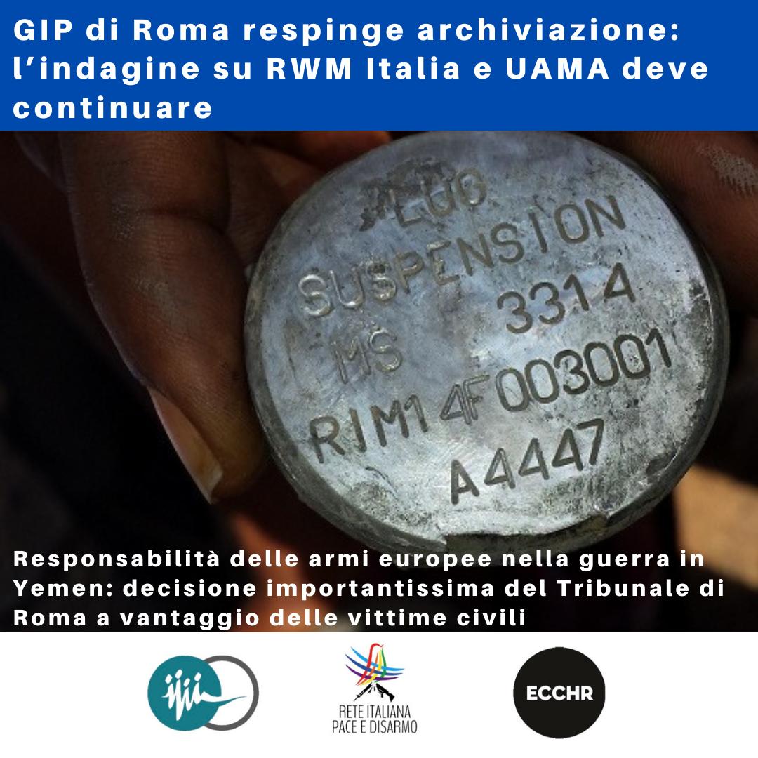 GIP di Roma respinge archiviazione: l'indagine su RWM Italia e UAMA deve continuare