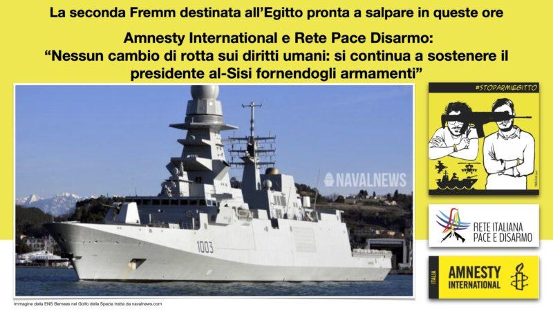 La seconda Fremm destinata all'Egitto pronta a salpare in queste ore: continua sostegno armato ad al-Sisi