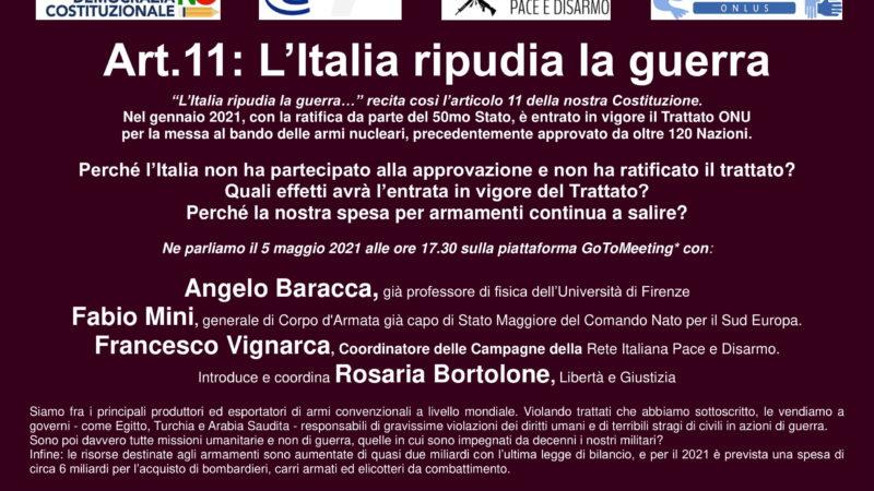 Art.11: L'Italia ripudia la guerra