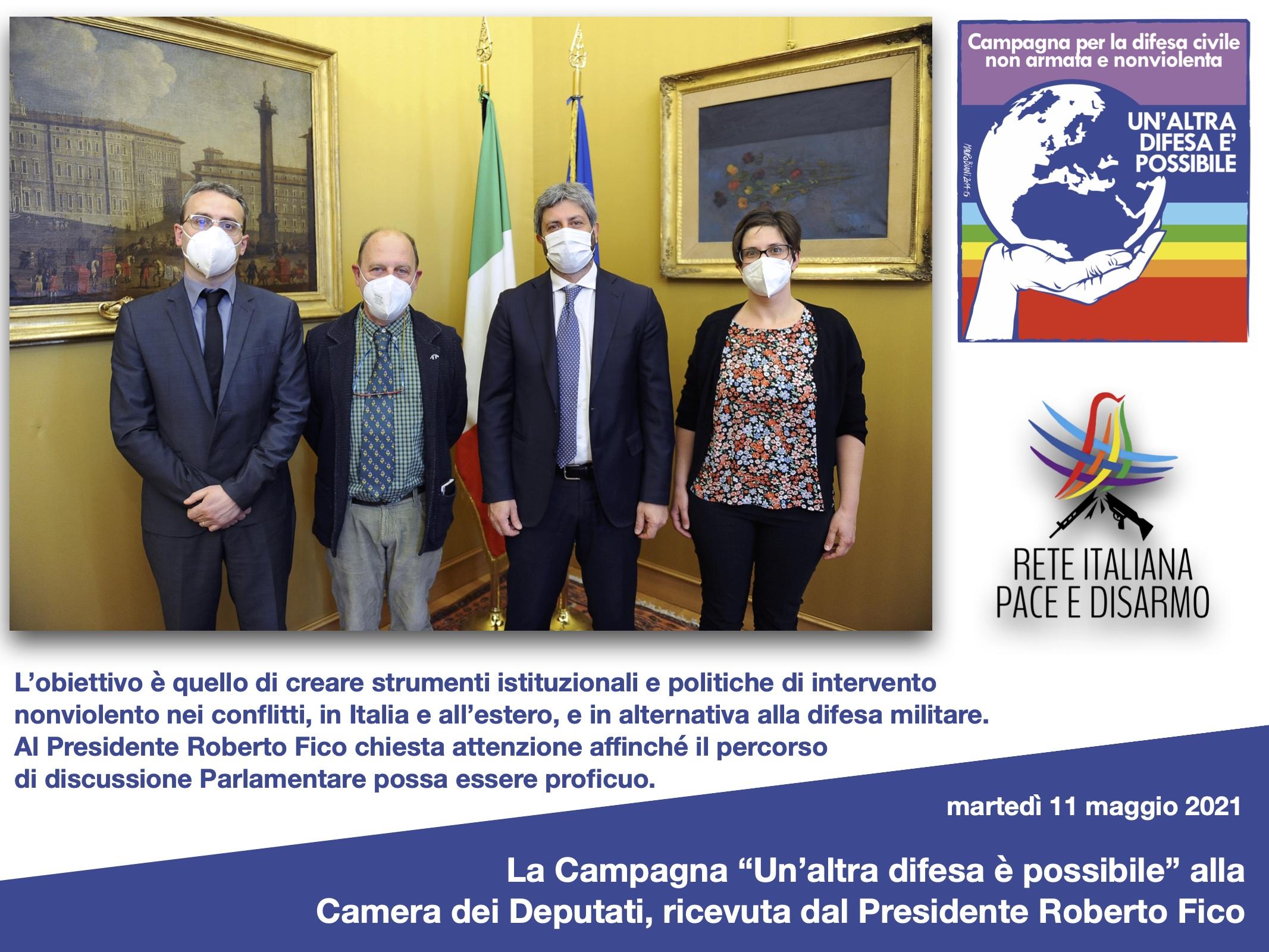 """La Campagna """"Un'altra difesa è possibile"""" alla Camera dei Deputati, ricevuta dal Presidente Roberto Fico"""