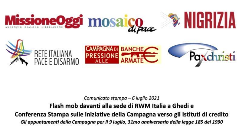 Campagna Banche armate: flash mob alla sede RWM Italia e Conferenza Stampa sulle iniziative
